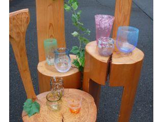 吹きガラス体験の作品♪形や色が自由に選べて、こんなに素敵なオリジナルグラスが◎