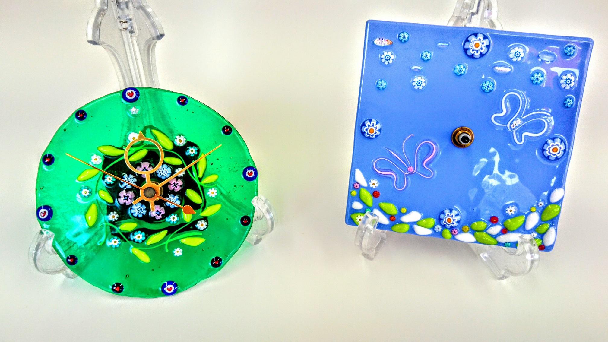 【ガラス細工・時計作り】約26色のガラスを組み合わせ、オリジナルの時計を作りまし...