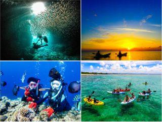 青の洞窟体験ダイビング+プライベートビーチシーカヤックの贅沢セットプランでございます!
