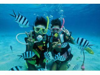 【ボートで出航!】透明度バツグンの海で体験ダイビング●沖縄本島イチ!!キラキラ抜群の透明度 ●ボートに乗って沖へGO ●初心者の人でも安心◎ ●体験写真を無料でプレゼント♪