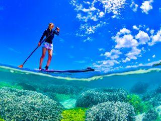 珊瑚礁の海でSUP&シュノーケル
