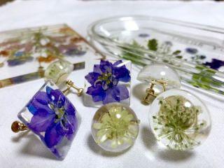クリアリウムはクリアな液の中に花を入れて固めます