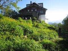 黒岳五合目駅。駅舎前のロックガーデンでは、様々な種類の高山植物がご覧頂けます。