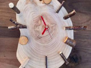 ヒノキ丸太の手作り時計 枝や木の実などアレンジ自由 世界でひとつのオリジナル時計を作ろう!