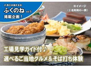 選べるご当地グルメ〈A:焼き鯖寿司 B:ソースカツ丼〉+越前おろしそば+水ようかん