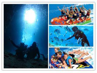 マリンスポーツは人気の3種ドラゴンボート、ビスケット、Uチューブ!青の洞窟とセットコースです!!