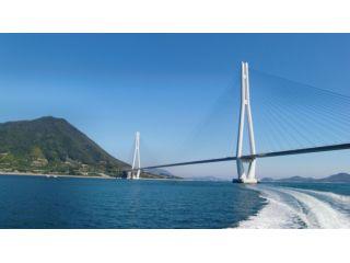 豪華クルーザーで大三島周辺を周遊。(井口港から多々羅大橋 > 甘崎城跡 >  ひょうたん島を巡ります)