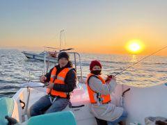 1月4日の初釣り、夕陽が最高でした。