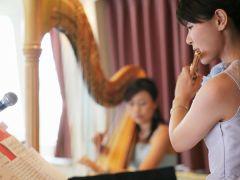 ディナークルーズでは日替わりで、ピアノやハープ、フルートなどお楽しみいただけます。