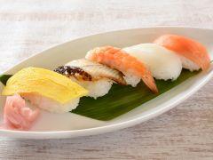 にぎり寿司5種盛り合わせ ~サーモン・イカ・海老・うなぎ・玉子~