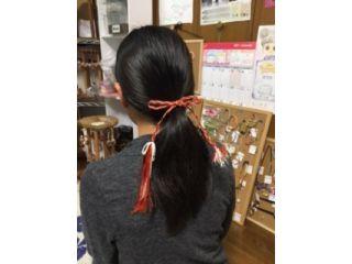 三葉タイプの髪紐です。完成イメージです。