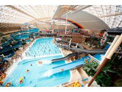 ハワイアンズを代表するウォーターパーク。常夏ドームには、大プールのほか、日本初の流れるアクアリウムプールやスリル溢れる3種のウォータースライダーがあります。