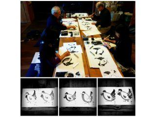 お手本を参考に干支の水墨画体験 それぞれ個性のある作品が仕上がりました。