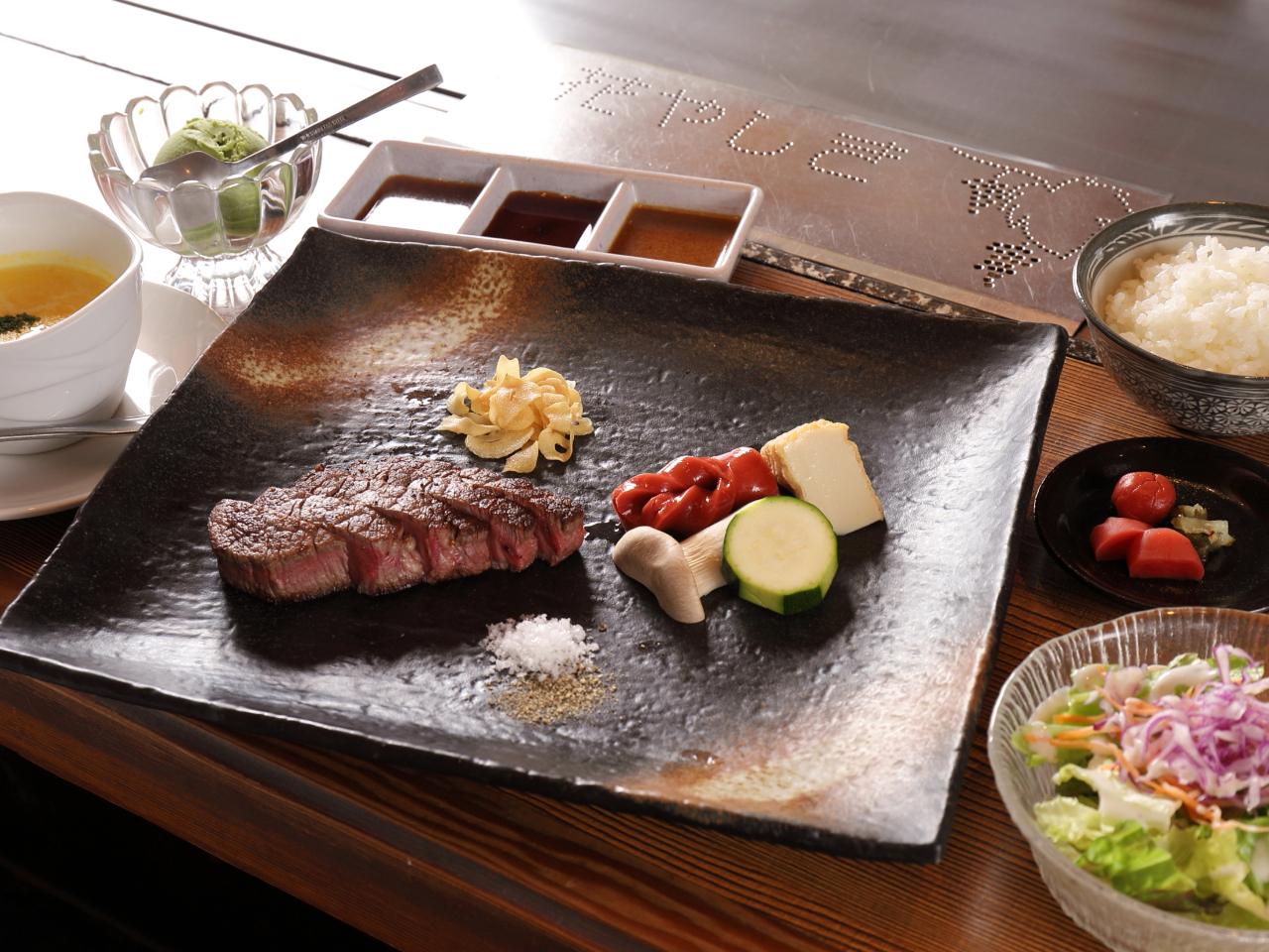 【ステーキ割烹の日帰りBランチ】国産牛フィレステーキ150gメイン!全5品の贅沢...