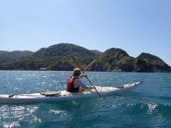 妻良湾を颯爽と漕ぎ進むシーカヤック