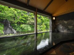 半露天風呂「白糸の湯」 男女時間帯別 対岸の白糸の滝を見ながらの入浴! 源泉100%かけ流し