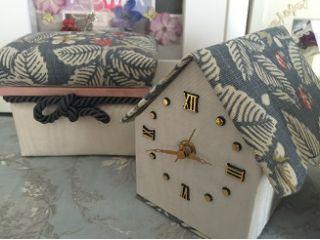 ウィリアムモリス生地で作るミニ茶箱&時計付ミニハウス小物入れ