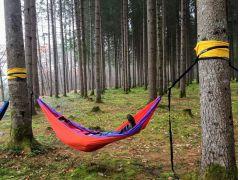 ウォーキングのあとは、森林の中でゆっくり休憩。レンタル無料のハンモックでゆらゆら~のんびりしましょう!