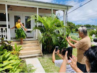 【撮影会ができる!憧れのティーリーフスカート!】沖縄ハワイアンの達人が教える!ティーの葉収穫体験からの〜!「ティーリーフスカート作り体験」(1名様1日コース)