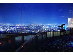 【空中庭園展望台】日没後は足元に広がる星の舗道「ルミ・スカイ・ウォーク」ときらめく大阪の夜景でロマンチックなひとときをお楽しみください☆