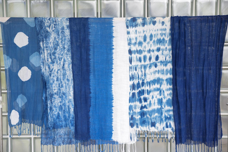 藍色のふるさと上板町で藍染体験レーヨンストール&新鮮な藍の生葉を使った生葉染め体...