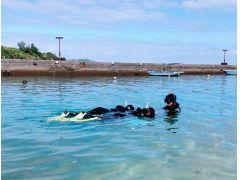 実際にシュノーケリングで海に慣れます!緊張する方は、始めは写真のようにゆっくり泳いで慣れていくので、ご安心下さい。