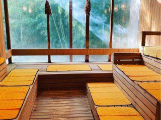 森のサウナ(源氏の湯)。フィンランド式サウナでセルフロウリュウも楽しめる。サウナの温度は80~90℃。