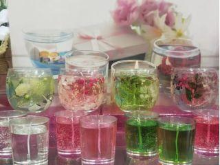 【愛知・名古屋・手作りキャンドル】草花を浮かべるボタニカルジェルキャンドル作り