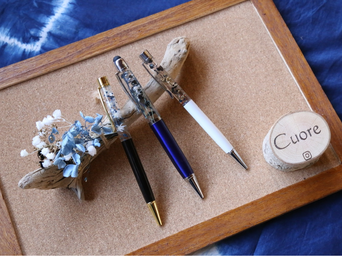 <ハーブティ付き!>藍染した花材でオンリーワンのボールペン作り♪