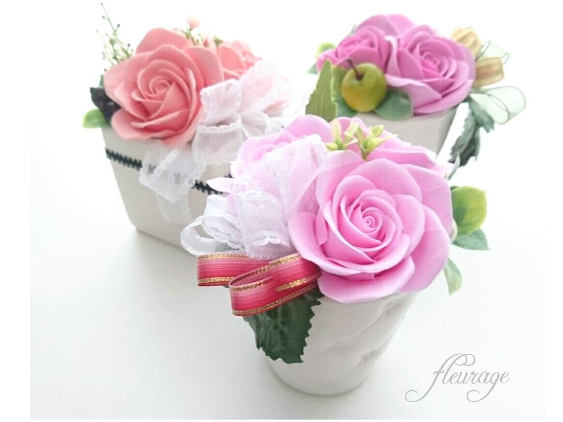 【フラワーコース】*バラのお花アレンジ*デコクレイクラフトでまるで本物のお花アレ...