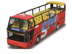 解放感と眺望を確保するため、屋根を取り払った2階建てのバスとなります。